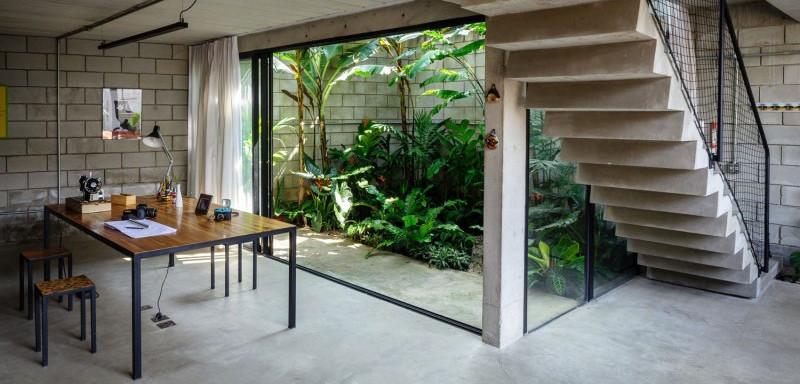 home office outdoor garden view